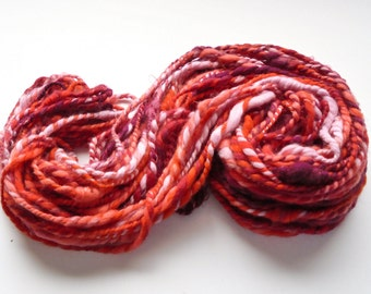 Handspun Yarn, STUDY IN SCARLET, 2-ply yarn, super bulky yarn, soft fractal yarn, merino yarn, kid mohair locks, Thick and Thin Chunky Yarn