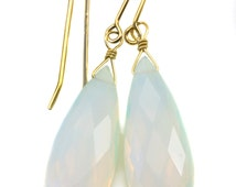 Opalite Earrings Faceted Long Pear Shaped AAA Teardrops 14k Gold Filled or Sterling Silver AAA cut iridescent colors simple daily wear drops