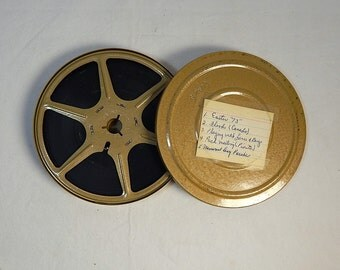Vintage Movie Canister and Reel Dual 8 Gold 1970's with Film Home Theater Decor #2