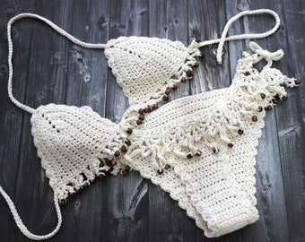 Womens swimwear brazilian bikini, cream hand crocheted bikini set in beige Cream, Boho Brazilian Bikinis, Sexy crochet cheeky swimsuit