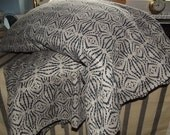 Set of Two Natural and Black Printed Soft Medium Linen Pillow Cases with Wide Ruffle. Standard/Queen Size.