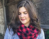 Infinity Scarf: Red & Black Flannel Buffalo Check