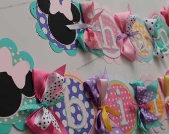 Minnie Mouse Happy Birthday Banner, minnie's bow-tique birthday Banner, minnie Party Decorations, minnie's bow-tique Party Decor,