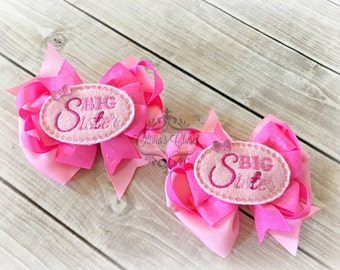 Big Sister Bow Little sister Hair Clip Middle Sister Bow Twin Sister Bow- Choose Big, LIttle, Middle, or Twin!