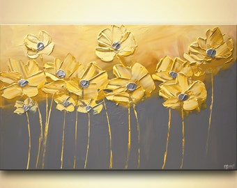 Original Yellow Floral Painting Acrylic Abstract Art Modern Palette knife Home Decor Yellow Gray  by Osnat