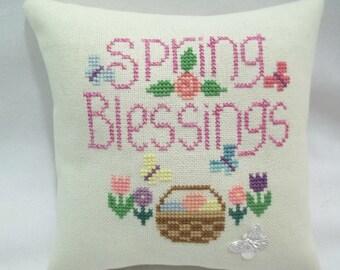 Spring Blessings Mini Pillow Cross Stitch Shelf Pillow