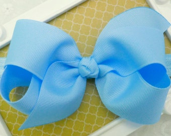 "Blue Bow Headband Easter Baby Headband Blue Baby Bow Headband Blue Newborn Headband Medium 4"" Bow Headband Pastel Blue Headband with Bow"