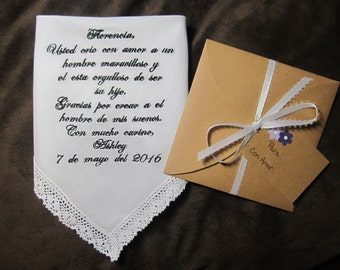 Mother In Law Personalized Wedding Handkerchief With Free Gift Envelope - Spanish Version - Shown with Black Writing