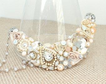 Blush Bridal Necklace- Pale Pink Necklace- Vintage Inspired Statement Bib-Blush Statement Bib-Romantic Bridal Bib-Soft Pink Bib-Brass Boheme