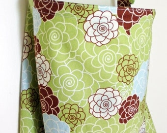 Clearance Nursing Cover Up - Lime Green, Brown and Light Blue Flower Blossom - Perfect for the Modest Nursing Mom