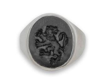 Lion Ring Heraldic Black Onyx Genuine Gemstone Sterling Silver 925