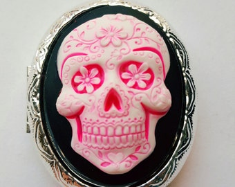 Hot Pink Neon Sugar Skull Day of the Dead Locket Necklace Pendant Goth Steampunk