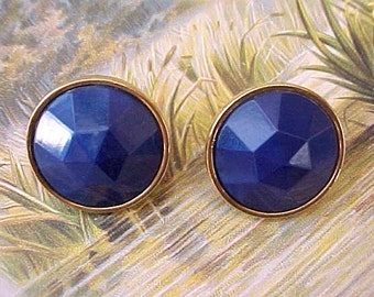 "Pretty Earrings with Large Faceted Cobalt Blue Colored ""Stones"""