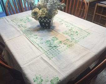 Vintage White Kitchen Tablecloth with a Green cross stitch design throughout kitchen, dining, housewares by MarlenesAttic
