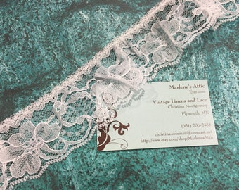 1 yard of 2 inch White Ruffled Chantilly lace trim for sewing, crafts, costume, housewares, couture by Marlenes - Item 7Z