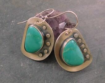 Kingman Turquoise Asymmetrical Riveted Earrings, Oxidized Sterling Silver, American Turquoise Modernist Dangle Earrings