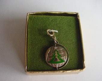 Vintage 1970's Sarah Coventry Limited Edition Charm, Christmas Tree, NIB, Goldtone, Collectible, Costume Jewelry