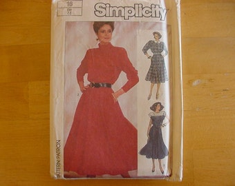 Vintage 1980s Simplicity Pattern 7598, Misses Dress with Flared Skirt with Elastic Waistline,  Size 16, Bust 38, Uncut