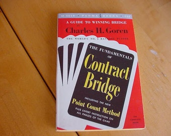 Vintage 1950s Fundamentals of Contract Bridge by Charles H. Goren, Collectible, Paper Ephemera