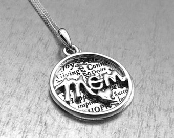 Sterling Silver Mom Pendant, Mom Necklace, Mom Charm, Gifts for Her, Gifts for Mom