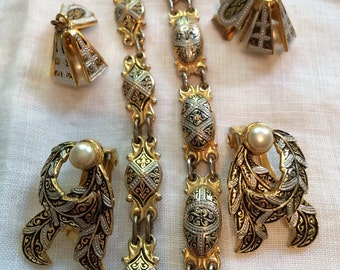 Set of FOUR Damascene Pieces: Two Pairs Earrings and Two Damascene Bracelets