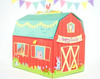 Printable Easter Barn Gift Box, DIY Easter Treat Box, Easter Printable, Easter gift for kids