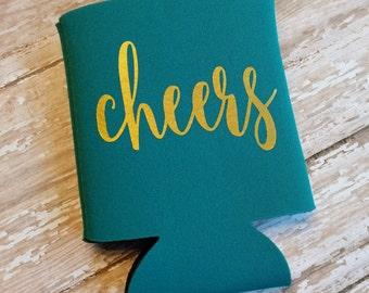 Cheers Can Cooler/Can Cooler/Beverage Cooler/Beverage Holder/Party Favors/Wedding Favors