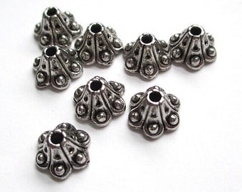 Antique Silver Bead Caps 8mm x 6mm Bali Style Metal Jewelry Findings - 8 Pieces