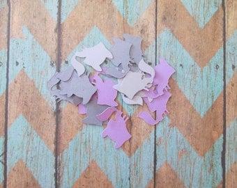 Fox Confetti - Fox theme, purples greys foxes, table confetti, woodland confetti, woodland baby showers, baby shower confetti, fox shapes