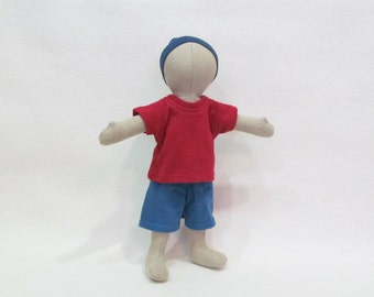 """Up-cycled cotton knit t-shirt and shorts outfit for 11"""" Dolly Mama Eugene soft cloth doll"""