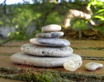 Wonderful Natural Beach Stone Stack 5 (7) Ocean Rocks Zen Garden Sculpture Rock Art Fountain Yoga Meditation Gift Wedding Home Decor Balance