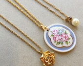 80s 90s vintage gold tone metal chain pendant necklaces/flowers pearl rhinestones--mixed lot of 3