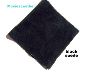 black suede leather - black suede leather pieces - black suede for crafts -