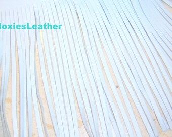White Genuine leather fringes for tassels, purses trim 4x12 x up to 6x18 inches wide