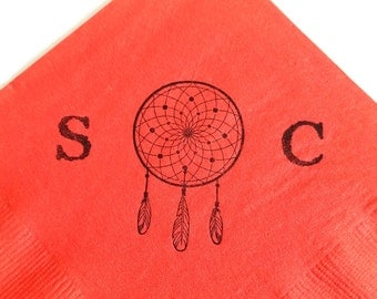 Personalized Dream Catcher Rustic Bright Coral Wedding Cocktail Napkins with Couples Last Initials- Set of 50