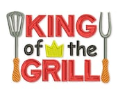King of the Grill Filled Embroidery Design Apron T-shirt Decor 5x7 and 6x10 sizes DE026