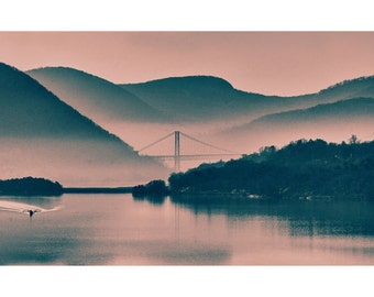 Hudson Highlands Fog and Bridge Two-Toned Fine Art Photographic Print