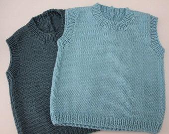 Light Aqua Sleeveless vest - Handknitted in a wool/cashmere blend - size 3-6 months