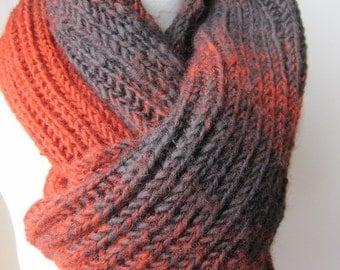 Knitted scarf women's-men's long knit scarf-terracotta orange brown fisherman Rib knit scarf-man fashion - Winter scarf scarves2012