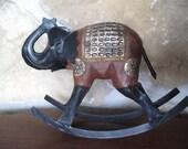 Brass Inlaid Elephant Sculpture, Rocking, Metal, Wood,  Black, Statue, Figurine, Decorative Toy, Hand Made,