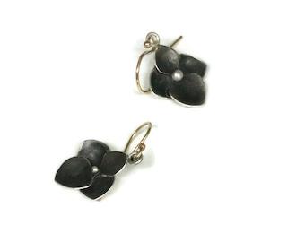 Hydrangea Earrings, Oxidized Silver Flower Earrings, Flower Drop Earrings Sterling , Artisan Handmade  by Sheri Beryl