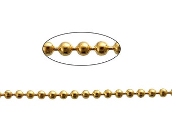 32ft Gold Plated Ball Chain - 1.5mm - Necklace, Wholesale Jewelry Finding, Bulk Jewelry Making Supplies, Ships from USA - CH46