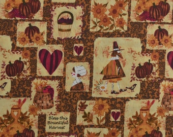 Cotton Quilting Fabric Remnant Thanksgiving Fabric Holiday Fabric Turkey Fabric Hearts Pilgrims Fall Fabric - Nealy 1 Yard - CFL1496