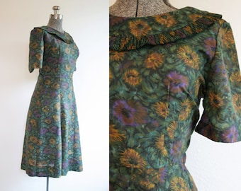 1960's Sunflower Dress by Shroyers with Jacket / Size Medium