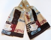 Espresso Crochet Top Kitchen Hand Towel Set of 2
