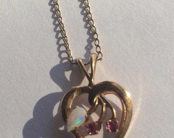 Vintage Gold Filled Opal & Ruby Pendant Necklace, Gold Necklace, Opal Pendant, Signed R.