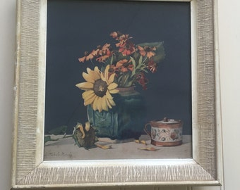 Vintage Wall Art / Sunflower/ Vintage Wall Decor / Vintage Framed Wall Hanging / Rustic /Farm House / SALE