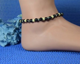 Wood Stretch Ankle Bracelet with Tibetan Silver Spacer Beads