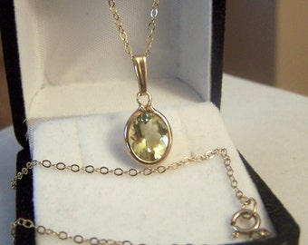 Gold Filled Yellow Quartz Pendant Solitaire Style 18 Inch Necklace Altered Authentic Vintage Genuine Gemstone Artisan Altered