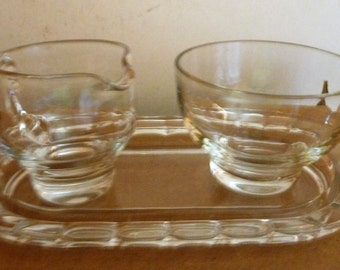 vintage glass cream & sugar with tray